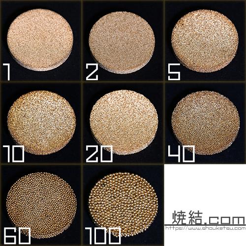 ブロンズ焼結金属の濾過精度比較